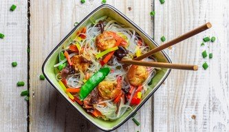 Prawn Stir-fry with rice noodles