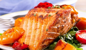 Trout with sweet potato wedges & veg