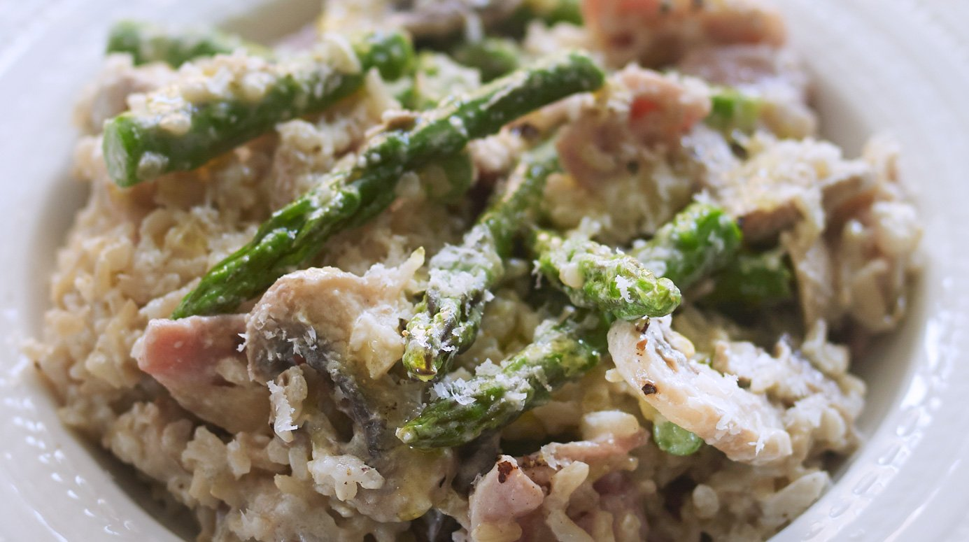 Mushroom, asparagus and bacon risotto
