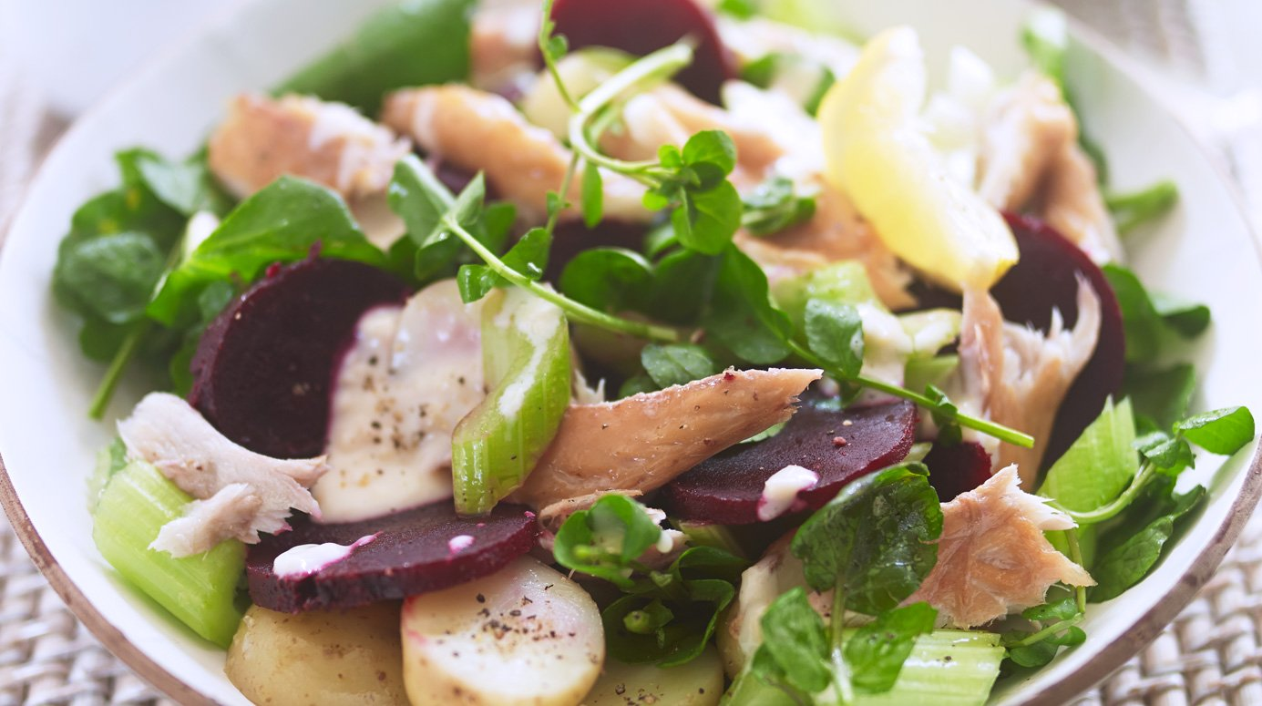 Warm smoked mackerel, beetroot and potato salad