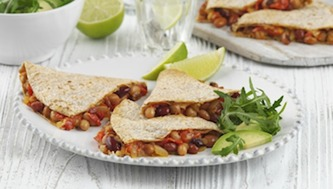 Wholemeal Bean Quesadillas and Salad