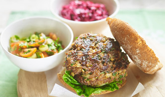 Beef Burger with spicy salsa and apple & beetroot coleslaw