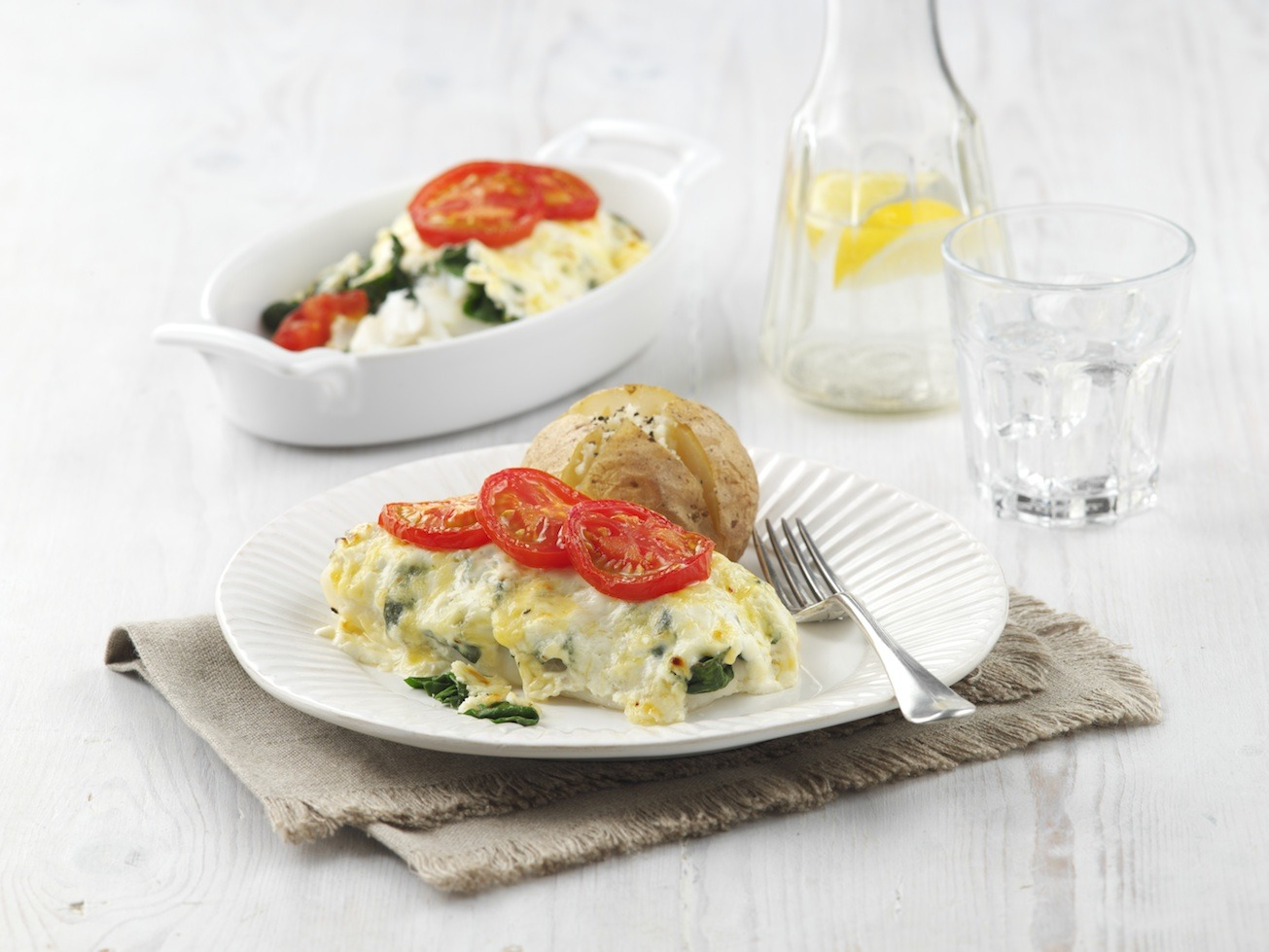 Cheesy Fish Gratin and Baked Potatoes