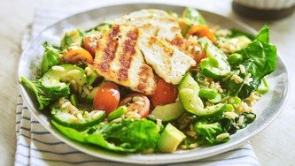 Grilled halloumi with nutty brown rice salad