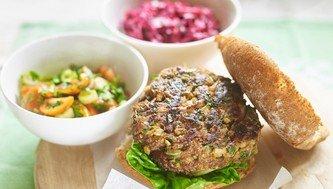Beef burger, with tomato Salsa and apple beetroot coleslaw