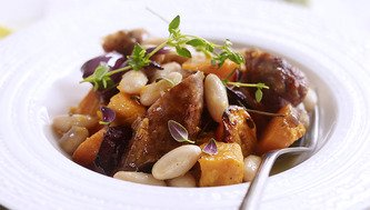 Sizzling Sausage, Full on Beans and Sweet Potato Bake