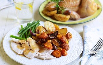 Roast Chicken, Heaps of Vegetables & Gravy