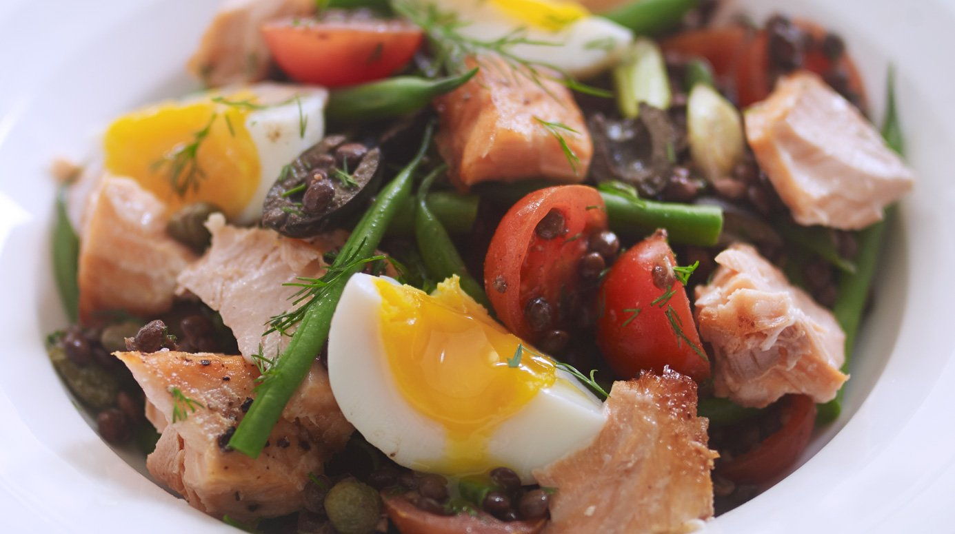 Salmon and lentil nicoise salad