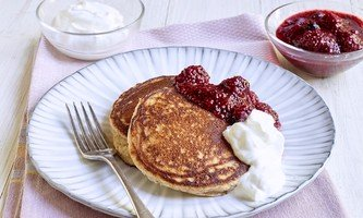 Banana Pancakes with Chia Seed Jam